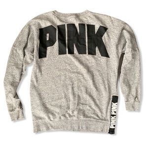 PINK Victoria Secret grey black logo sweatshirt XS